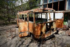 Stopped in Pripyat - An abandoned bus at the garages in Pripyat.