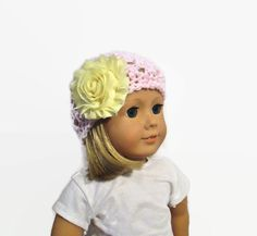 Hat Pink Yellow Flower Crochet 18 inch Doll by PreciousBowtique
