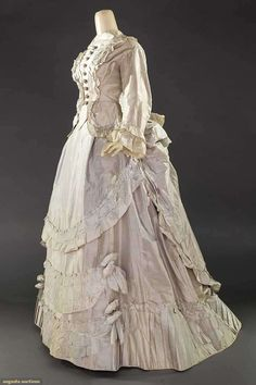 ICE BLUE TAFFETA RECEPTION GOWN, 1870