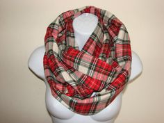 red cream green plaid infinity scarf flannel by OtiliaBoutique Plaid Flannel, Plaid Scarf, Plaid Infinity Scarf, Blanket Scarf, Womens Scarves, Cream, Hoodies, Stylish, Cotton