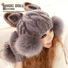 Wholesale Product Snapshot Product name is Super Cute New Arrival Winter Warm Korean Women Devil horns Cat Ear Knit Ski Beanie Faux Fur Ball Wool Hat Cap Grey # Knitted Cat, Bobble Hats, Cute Hats, Knit Fashion, Grey Fashion, Cat Design, Cat Ears, Hats For Women, Fashion Accessories