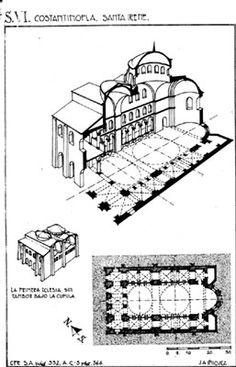 Planta y alzado de la iglesia de Santa Irene en Constantinopla, siglo VI. Early Christian, Islamic Architecture, Byzantine, Roman Empire, Building Materials, Tudor, Art History, Design Inspiration, Irene