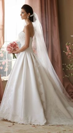 DAVID TUTERA FOR MON CHERI – Glamour Wedding Dresses- would be so pretty with silver beading