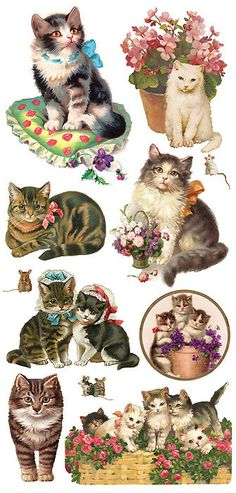 Self Adhesive Victorian Cats Stickers 1 Sheet by 32NorthSupplies