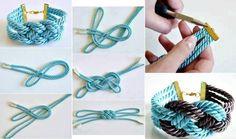 Pulsera o collar en nudo tejido en hilo de seda grueso o en cordón de seda, trae el paso a paso, se puede hacer en uno o en dos colores.