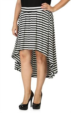 Deb Shops Plus Size High Low #Striped #Skirt $16.42