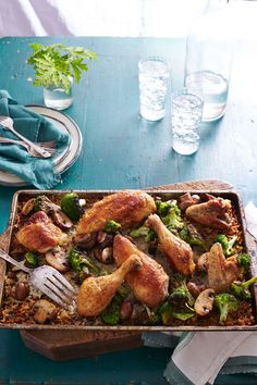 Simple Whole Roasted Chicken with Broccoli-Mushroom Rice Whole Roast Chicken Recipe, Perfect Roast Chicken, Whole Roasted Chicken, Chicken Drumstick Recipes, Roast Chicken Recipes, One Dish Dinners, One Pot Meals, Weeknight Dinners, Sheet Pan Suppers