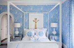 DECORATING IN BLUE & WHITE: adorable #bedroom with #monogram bedding and framed giraffle #artwork