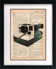 WANT $10 - vintage polaroid camera illustration art print dictionary print book page print unique art print 8x10