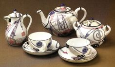 Art Against Reification  Liudmila Protopopova, tea service with industrial motif designed for the Lomonosov Porcelain Factory, Leningrad, 1930s