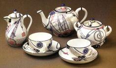 Art Against Reification  Liudmila Protopopova, tea service with industrial motif designed for the Lomonosov Porcelain Factory, Leningrad, 1930s