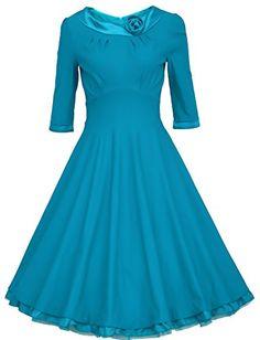 1950s Rockabillty 3/4 Sleeve Swing Vintage Dress