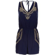 New Look Parisian Navy Embroidered V Neck Playsuit ($9.09) ❤ liked on Polyvore featuring jumpsuits, rompers, navy, sleeveless romper, navy romper, tie-dye rompers, v neck romper and navy blue rompers