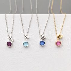 Personalized bridesmaid gifts. Initial and birthstone necklaces from Tom Design on Etsy www.tomdesign.etsy.com