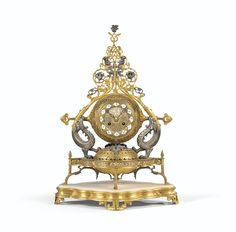 "A ""PERSANNE"" SILVERED AND GILT-BRONZE MANTEL CLOCK, NAPOLÉON III, CIRCA 1855, BY GEOFFROY-DECHAUME"