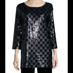 "Joan Vass Tunic Joan Vass 3/4 sleeve Square sequined Tunic with solid back. Bateau neckline. Relaxed fit. Hem hits thigh, cotton, color black w/ black Size 1 from underarm to underarm 19"" Joan Vass Tops Tunics"