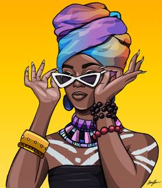 Carnivour Creates — Smoker's Choice IV - Carnivourcreates Pop Art Girl, Black Girl Art, Black Women Art, Black Girl Magic, African American Art, African Art, Trap Art, Black Art Painting, Ebony Girls