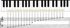 toetsenbord en notenbalk .Bladmuziek is eigenlijk een boek dat je kunt lezen, alleen in plaats van dat je de woorden die je leest uitspreekt speel je die op de piano.Hierboven een mooie afbeelding van het toetsenbord en notenbalk. Bij het beheersen van het lezen van deze noten heb je al een basis gelegd.