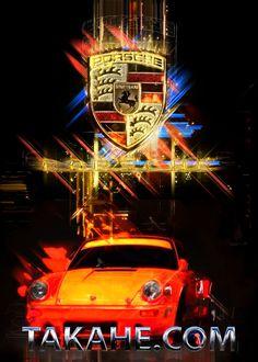 A Porsche 911 attacking in a burst of light