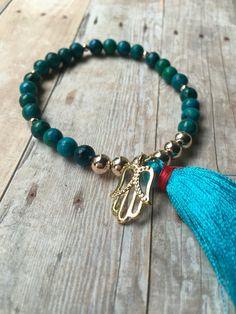 Turquoise Beaded Bracelet Turquoise Beaded Tassel Bracelet Blue Tassel Stretch Bracelet Om Charm Bracelet Stretch Bracelet Boho Jewelry ST98 by JulemiJewelry on Etsy