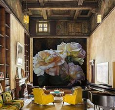 by Diana Watson. Large floral art work as background design.
