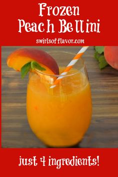 Frozen peaches, Peach Schnapps and Prosecco whirl up into a fabulously delicious Frozen Peach Bellini Recipe! Perfect for happy hour or brunch!