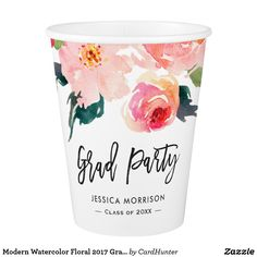 Shop Modern Watercolor Floral 2020 Graduation Party Paper Cup created by CardHunter. Paper Napkins, Paper Plates, Paper Cups, Graduation Party Supplies, Graduation Announcements, Summer Picnic, Party Tableware, Tool Design, Floral Watercolor