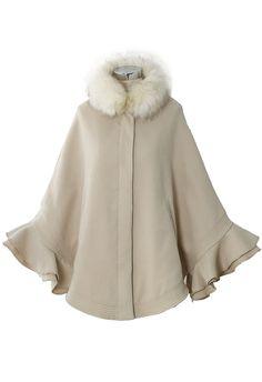 Detachable Faux Fur Collar Ruffle Cape in Apricot - Outers - Retro, Indie and Unique Fashion