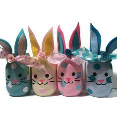 Bunny mason jars, bunny jars, bunny home decor, bunny nursery decor, bunny baby shower decoration, bunny lover gift, bunny vase, Easter