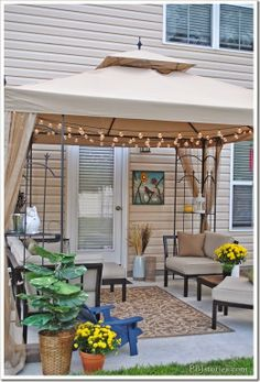 What a fun and cozy patio for a family