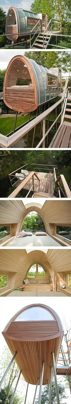 Egg-shaped tiny house ...if it's on stilts over a pond, wouldn't the designer install a way to view the pond from inside the egg?