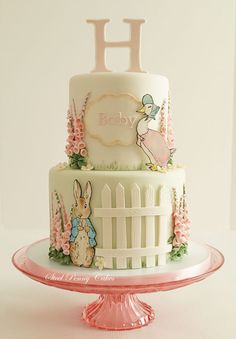 Beatrix Potter baby shower by Steel Penny Cakes Elysia Smith. What a cute cake idea! Pretty Cakes, Cute Cakes, Beautiful Cakes, Amazing Cakes, Peter Rabbit Cake, Peter Rabbit Birthday, Beatrix Potter Cake, Beatrix Potter Nursery, Torta Baby Shower