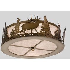16 Inch W Elk At Dusk Flushmount - Custom Made
