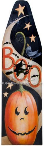 BOO Ironing Board Pattern by Sharon Chinn Halloween Signs, Holidays Halloween, Halloween Crafts, Halloween Decorations, Autumn Painting, Tole Painting, Painting On Wood, Painted Ironing Board, Ironing Boards