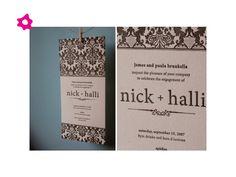 Invitaciones de boda con papel estampado en blanco y negro