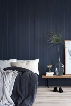 Porter's Paints Mayfair Mariner or Antique blue Blue Feature Wall Bedroom, Dark Blue Feature Wall, Timber Feature Wall, Timber Wall Panels, Bedroom Wall Colors, Home Decor Bedroom, Dark Blue Bedrooms, Dark Blue Walls, Blue Rooms