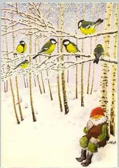 and yellow warblers? Definitely Great Tits not warblers. Fairy Land, Fairy Tales, David The Gnome, Kobold, Scandinavian Gnomes, Swedish Christmas, Christmas Drawing, Old Fashioned Christmas, Children's Book Illustration