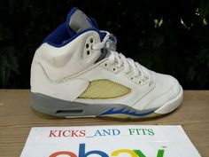 2006 Nike Air Jordan V 5 Retro 5Y White Grey Blue RIGHT SHOE ONLY OG 134092-142 #Nike #BasketballShoes