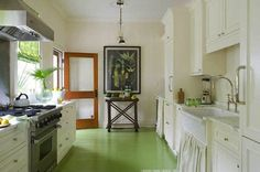 Great Painted Kitchen Floors With Painted Floors Lend Themselves To Vibrant Color Selections For Great Floor Painted Kitchen Floors, Painted Wooden Floors, Kitchen Paint, Kitchen Flooring, Kitchen Wood, Kitchen Ideas, Kitchen Sinks, Cheap Kitchen, Kitchen Decor