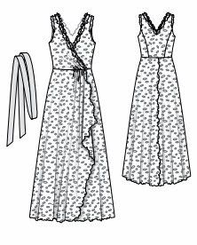Long Dress crossover and multiple skirts. free pattern, but is download.