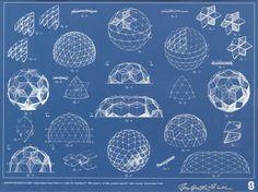 Blueprint, Buckminster Fuller geodesic dome patent drawing, 1965.