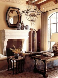 Corner Fireplace Ideas for Your Living Room to Improve Home Interior Visual Tuscan Decorating, Interior Decorating, Interior Design, Decorating Ideas, Design Interiors, Estilo Colonial, Spanish Colonial, Spanish Revival, Salons Cosy