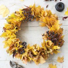 Ihana ruska! Tee kranssi vaahteranlehdistä ja pääset nauttimaan väriloistosta pidempään. #kotivinkki #syksy #syksynlehdet #vaahteranlehti #kranssi #maple #mapletree #wreath #diy #kransen #autumnleaves
