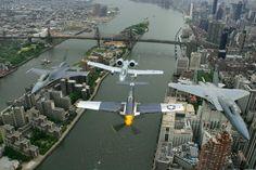 A-10 F-16 F15 MUSTANG OVER ROOSEVELT ISLAND NEW YORK CITY - 59TH ST BRIDGE - MANHATTAN