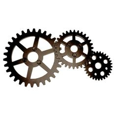 Bronze Industrial Gears Wall Decor- 10 x 20-in