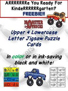 Freebie! Monster Truck Lowercase and Uppercase Letter Puzzle Piece Matchup from Shanda from Shanda on TeachersNotebook.com (18 pages)  - Hello and welcome to Twin Sisters Speech  Language Therapy LLC! We are so happy to see that you have stopped by to pick up our latest freebie. This document contains both colorful and black and white upper and lowercase letter jigsaw puzzle matching