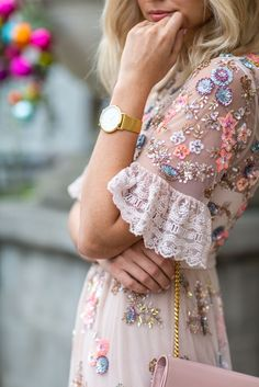Tea Dress Blog Post: http://paperduchesses.com/pretpp/ Prettiest Tea Dress With Beautiful Embroidered Flowers make a lovely and charming spring statement in pinks! Sequins add shimmer and sparkle and delicate white lace completes the sheer, feminine, flirty look. Pair with delicate accessories like this YSL purse and gold watch. : Paper Duchesses Style Guides