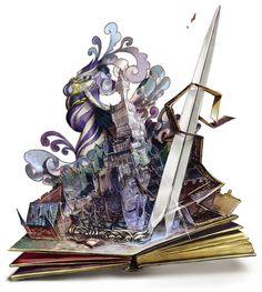 支配を恐れたの女王は、自らをその国ごと本に閉じこめました。本の世界は安全でしたが、変わらない世界に退屈した彼女は、気に入った者たちを次々と本の世界に引きずり込むようになりました。そうしてその本は、敵意をもって手にした者には刃が降りかかり、好奇のまなざしをもって手にした者は食べられてしまう悪魔の本だと噂されるようになったのです。  ◆要するに飛び出す絵本。 ⇒pixivファンタジアFK【http://www.pixiv.net/member_illust.php?mode=medium&illust_id=41854317】