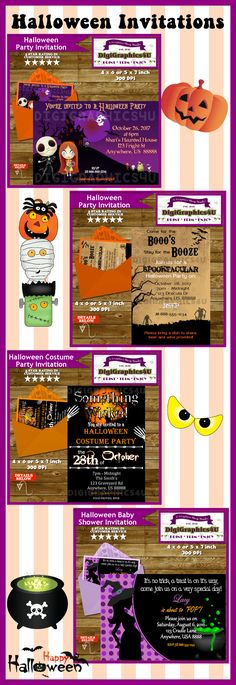 Halloween Invitations over at DigiGraphics4u Halloween, invitations, labels, tags, bag toppers, cupcake toppers, witch, ghost, skeleton, dia de los muertos, day of the dead, bugs, spiders, party favors, monsters
