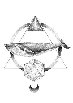 THIAGO BIANCHINI ILLUSTRATION - GEOMETRIC WHALE, 2015. Stippling technique.